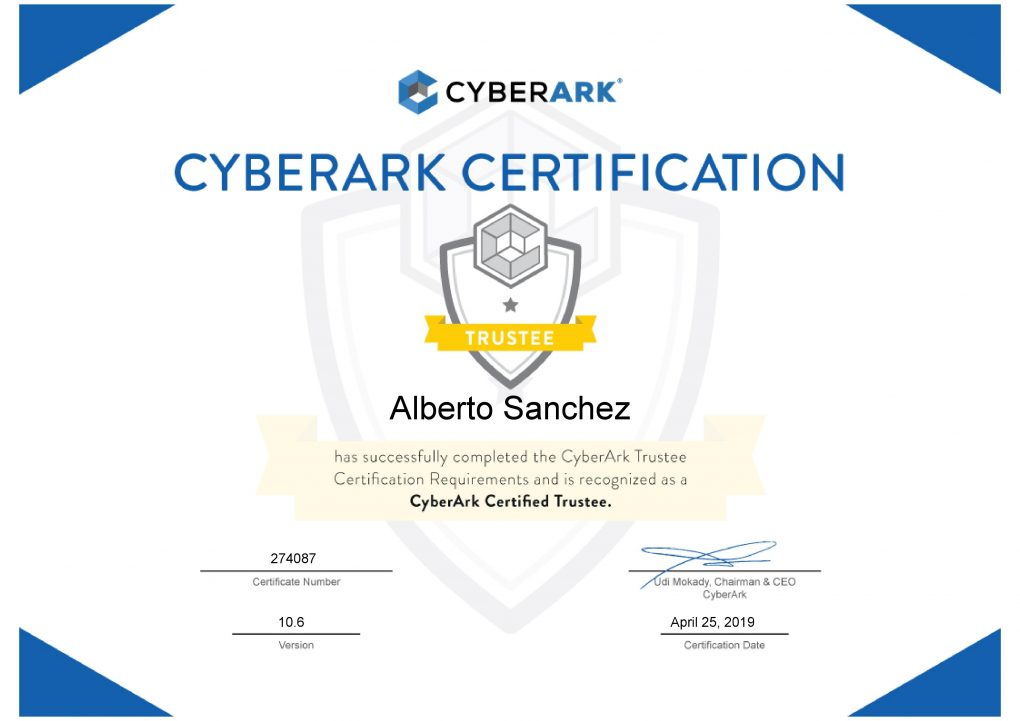 CyberArk Trustee certification
